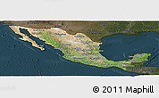 Satellite Panoramic Map of Mexico, darken