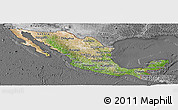 Satellite Panoramic Map of Mexico, desaturated