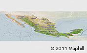 Satellite Panoramic Map of Mexico, lighten