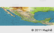 Satellite Panoramic Map of Mexico, physical outside, satellite sea