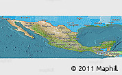 Satellite Panoramic Map of Mexico, political shades outside, satellite sea