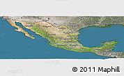 Satellite Panoramic Map of Mexico, semi-desaturated, land only