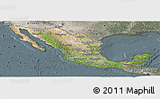 Satellite Panoramic Map of Mexico, semi-desaturated