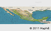 Satellite Panoramic Map of Mexico, shaded relief outside, satellite sea