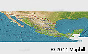 Satellite Panoramic Map of Mexico, single color outside