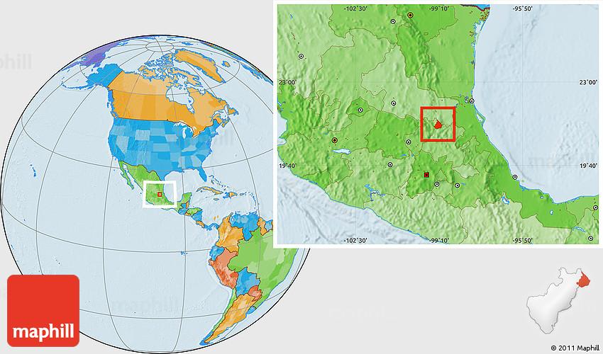 Political Location Map of Landa De Matamoros