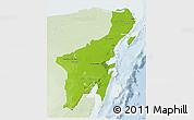Physical 3D Map of Quintana Roo, lighten