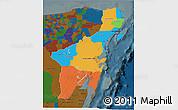 Political 3D Map of Quintana Roo, darken