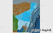 Political Shades 3D Map of Quintana Roo, darken