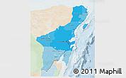 Political Shades 3D Map of Quintana Roo, lighten