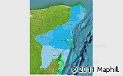 Political Shades 3D Map of Quintana Roo, satellite outside