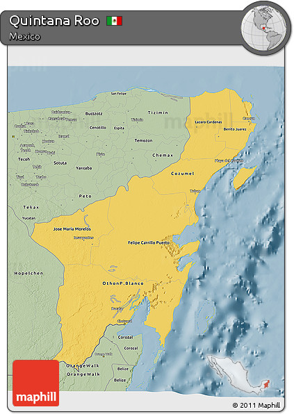 Savanna Style 3D Map of Quintana Roo