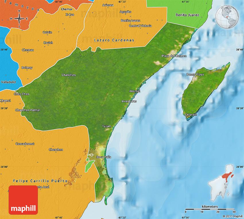 Satellite Map of Cozumel political outside