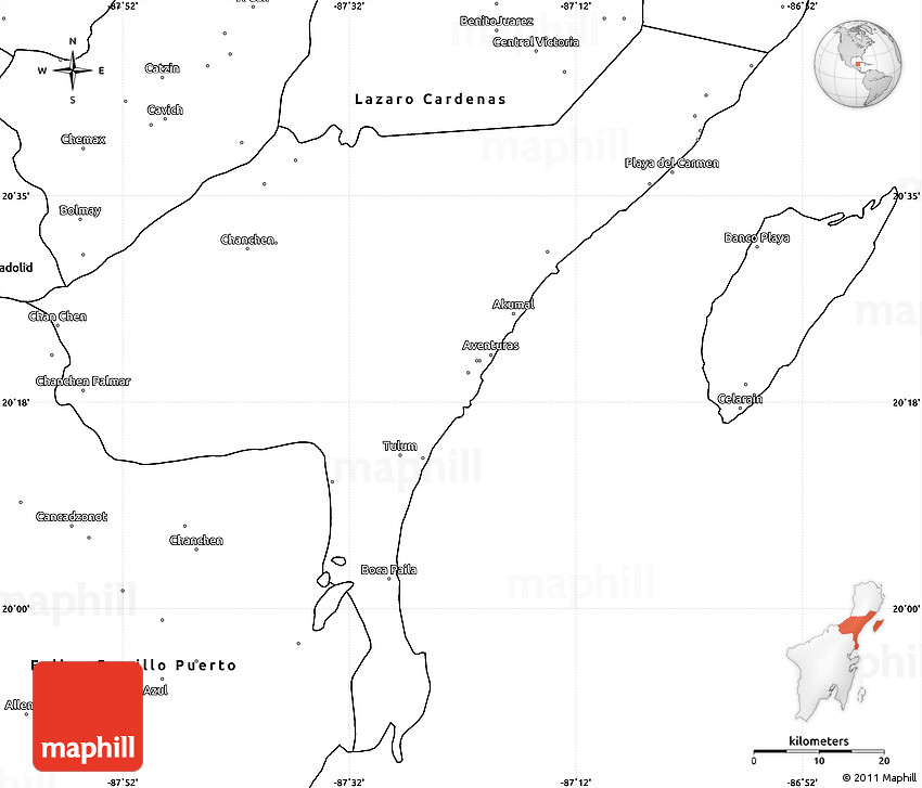 Blank Simple Map of Cozumel