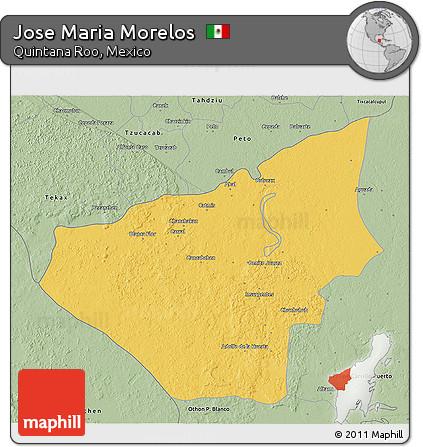 Savanna Style 3D Map of Jose Maria Morelos