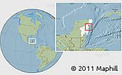 Savanna Style Location Map of Lago Chunyaxche, highlighted parent region, hill shading