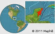 Satellite Location Map of Quintana Roo