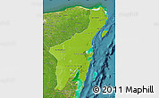 Physical Map of Quintana Roo, satellite outside