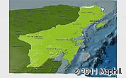 Physical Panoramic Map of Quintana Roo, darken