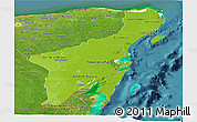 Physical Panoramic Map of Quintana Roo, satellite outside