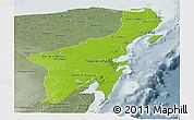 Physical Panoramic Map of Quintana Roo, semi-desaturated