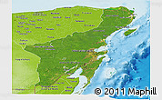 Satellite Panoramic Map of Quintana Roo, physical outside