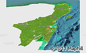 Satellite Panoramic Map of Quintana Roo, single color outside