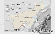 Shaded Relief Panoramic Map of Quintana Roo, desaturated