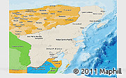 Shaded Relief Panoramic Map of Quintana Roo, political shades outside