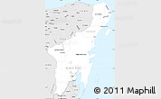 Silver Style Simple Map of Quintana Roo