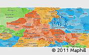 Political Shades Panoramic Map of San Luis Potosi