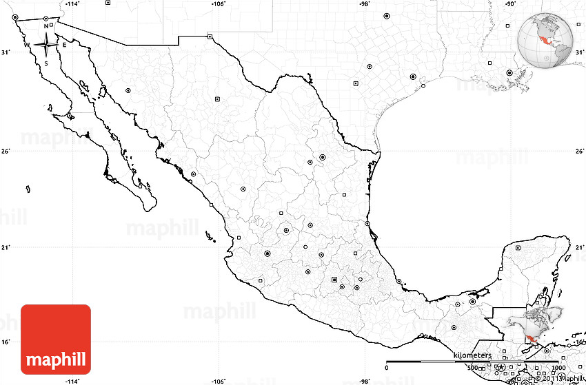 Blank Simple Map of Mexico, no labels