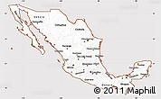 Classic Style Simple Map of Mexico, cropped outside