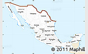 Classic Style Simple Map of Mexico, single color outside
