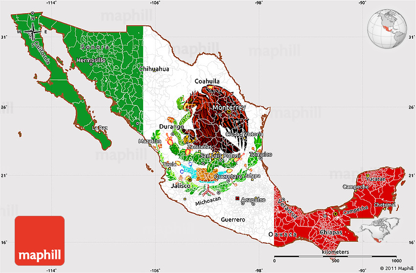 Flag Simple Map of Mexico