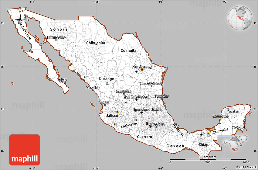 Gray Simple Map Of Mexico Cropped Outside