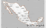 Gray Simple Map of Mexico, cropped outside