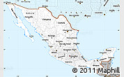 Gray Simple Map of Mexico