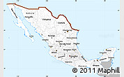 Gray Simple Map of Mexico, single color outside