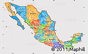 Political Simple Map of Mexico, cropped outside