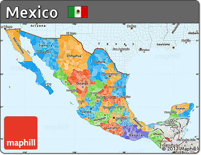 Free Political Simple Map Of Mexico Single Color Outside Borders - Political map of mexico
