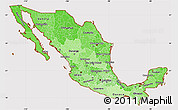 Political Shades Simple Map of Mexico, cropped outside