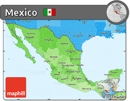 Free Political Shades Simple Map of Mexico