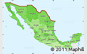 Political Shades Simple Map of Mexico, single color outside