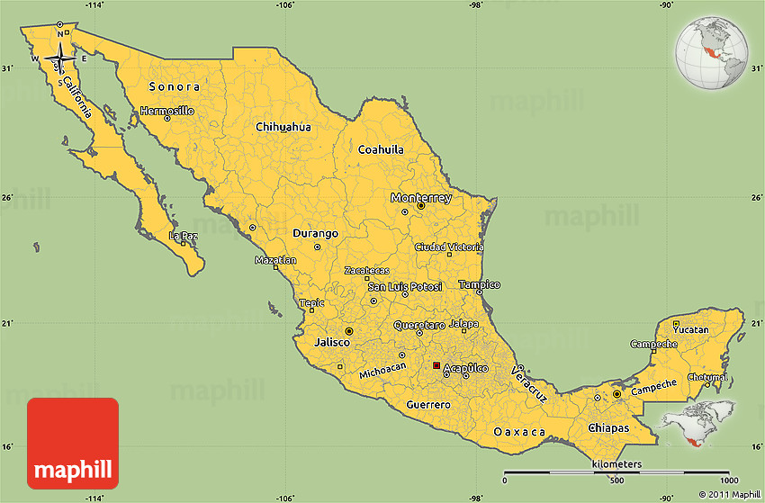 Savanna Style Simple Map of Mexico, cropped outside