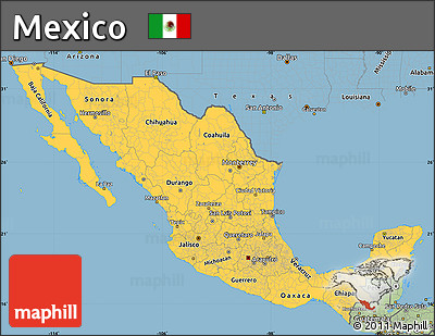 Free Savanna Style Simple Map Of Mexico - Picture of map of mexico