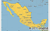 Savanna Style Simple Map of Mexico