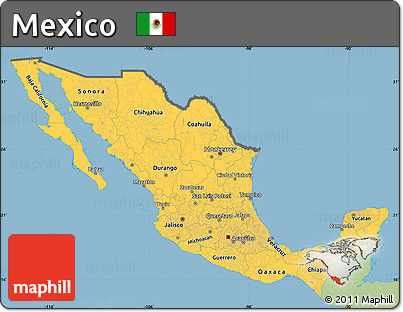 Free Savanna Style Simple Map Of Mexico Single Color Outside