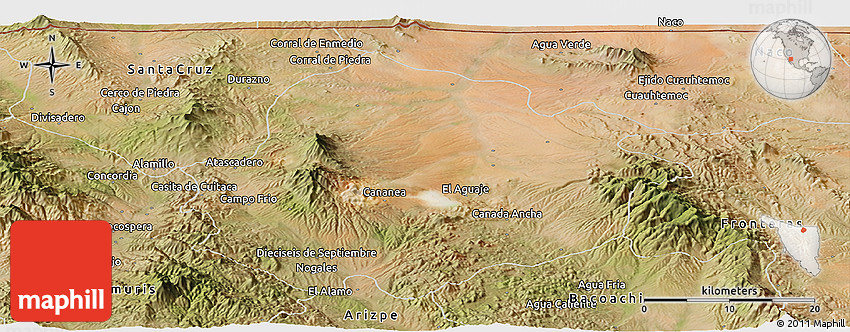 Cananea Mexico Map.Satellite Panoramic Map Of Cananea
