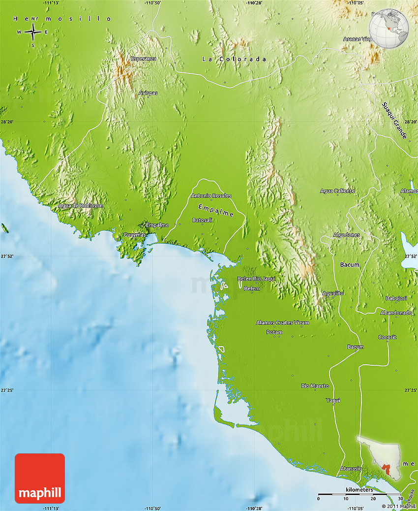 Physical Map Of Guaymas